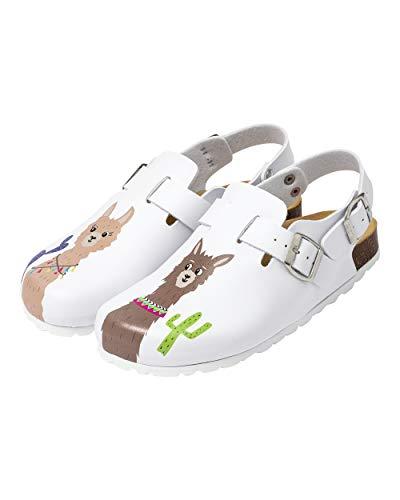 CLINIC DRESS Clog - Clogs Damen bunt weiß Motiv. Schuhe für Krankenschwestern, Ärzte oder Pflegekräfte weiß/bunt, Lama 39