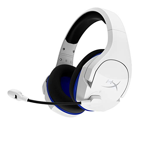 HyperX Cloud Stinger Core – Wireless Gaming Headset, for PS4, PS5, PC, Lightweight, Durable Steel Sliders, Noise-Cancelling Microphone - White