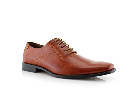 Ferro Aldo Jeremiah MFA19277A Mens Classic Lace Up Oxford Casual Dress Shoes Brown