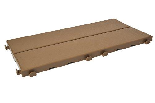 Baldosas de plástico con acabado de efecto madera 37,7 x 18,6 cm para interior, exterior y jardín, muy versátil y autoblocante. Color beige. LA CAJA CONTIENE 14 PIEZAS (CA 1 M2)