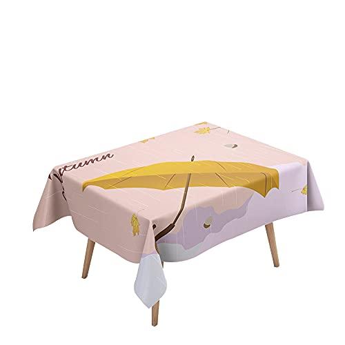 Morbuy Manteles Impermeables Antimanchas Mesa Rectangular, 3D Paraguas Imprimir Mantel Lavable para Decoración Hogar Cocina Comedor Fiesta Cumpleaños Jardín (Día lluvioso,140x180cm)