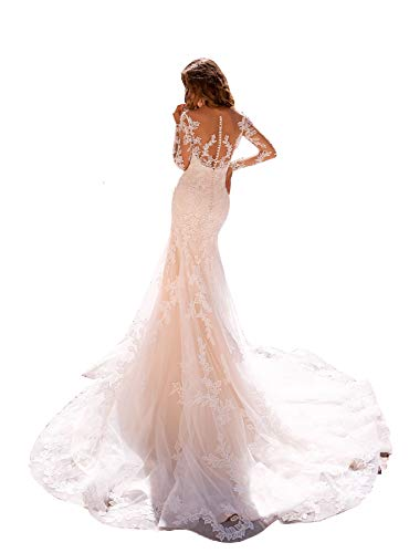 Clothfun Women's Illusion Long Sleeve V-Neck Lace Bridal Wedding Gowns 4 Style2 White