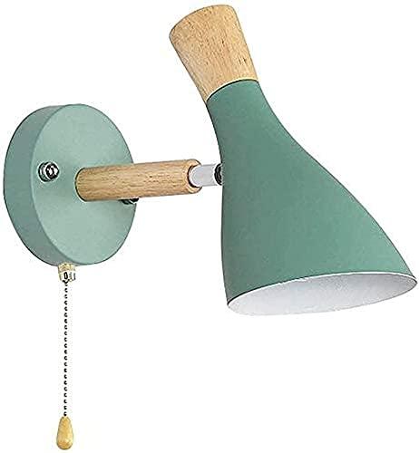 Lámpara De Pared Diseño Ajustable Luz De Pared De Hierro Y Madera Con Interruptor De Cadena De Tracción Muro De La Pared Para El Dormitorio Sala De Estar De La Sala De Estudio (Color : Verde)