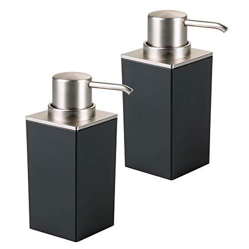 mDesign 2er-Set Seifenspender wiederbefüllbar – 296 ml Füllmenge – besonders einfach zu dosieren – edler Pumpseifenspender bzw. Lotionspender aus Kunststoff – schwarz/silber