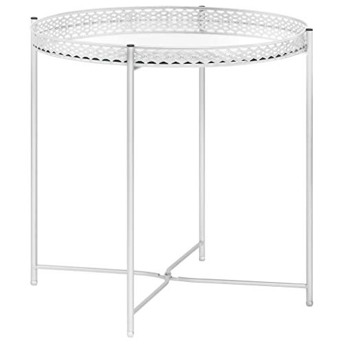 vidaXL Side Table Living Room Furniture Accent End Couch Sofa Tea Coffee Mirror Tray Table Telephone Plant Stand Home Decor Silver Glass