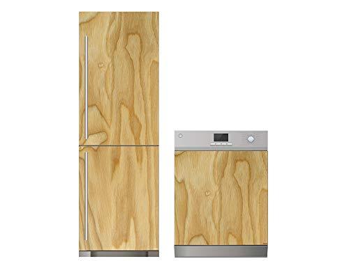 Oedim Pack Vinilo para Frigorífico + Vinilo para Lavavajillas Vetas Madera   60x185cm + 65x75cm   Adhesivo Resistente y Económico   Pegatina Adhesiva Decorativa de Diseño Elegante