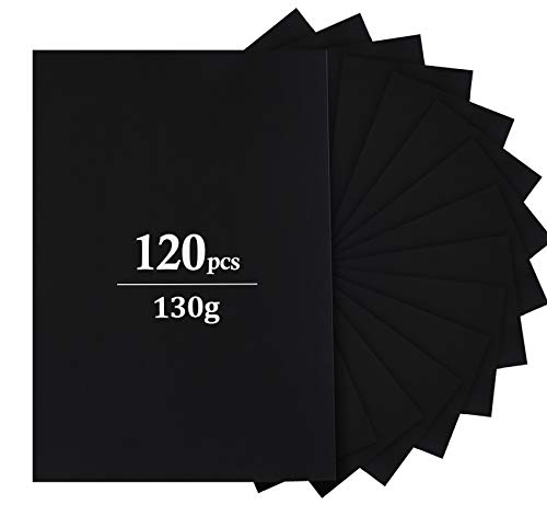 Tonpapier Schwarz A4,Schwarzes Bastelpapier 120 Blatt 130g/m²,Tonkarton Bastelkartonpapier zum Basteln und Gestalten
