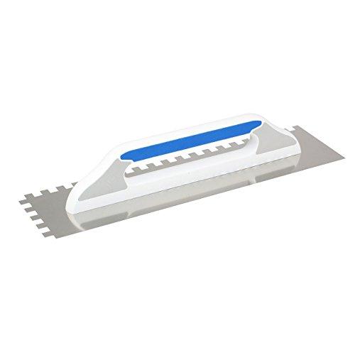 DEWEPRO® Schweizer Glättekelle Glättkelle - Aufziehplatte - Aufziehglätte - Traufel - Edelstahl 480x130mm - gezahnt: 8x8mm - hochwertiger 2-K-Griff