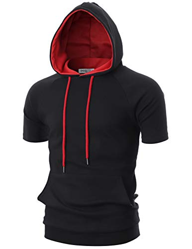 OHOO Mens Slim Fit Short Sleeve Lightweight Raglan Zip-up Two-Tone Hoodie with Kanga Pocket/DCF053-BLACK/RED-2XL