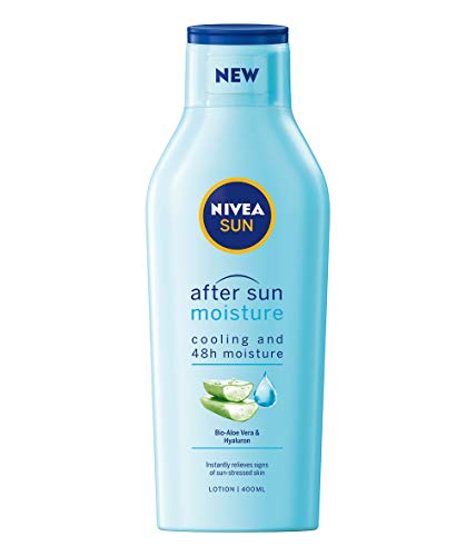 Nivea SUN After Sun Moisturising Soothing Lotion (400 ml), Cooling Moisturiser with Aloe Vera, Naturally Soothing After Sun Care with 24-Hour Effectiveness
