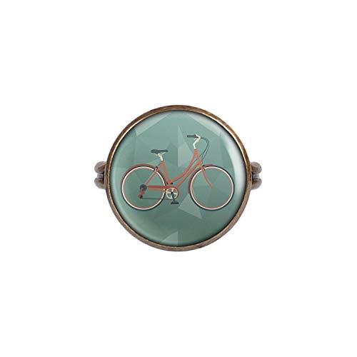 Mylery Ring mit Motiv Damen-Rad City-Rad Stadt-Rad Rot Bronze 16mm