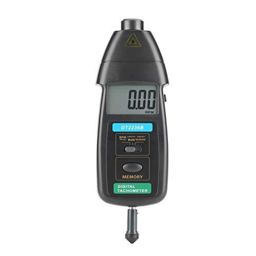 FOLOSAFENAR Tacómetro de Foto/Contacto, Detector de Velocidad de Prueba de rotación, Herramienta de medición Digital LCD portátil Profesional, Superficie para Interiores y Exteriores