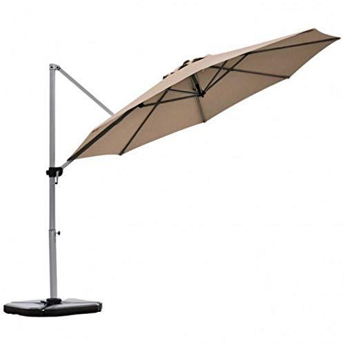Homeura 11' Patio Offset Cantilever Umbrella 360° Rotation Aluminum Tilt-Tan