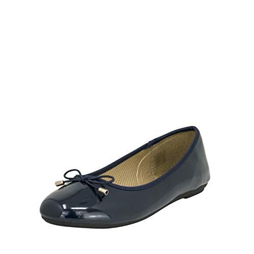 Fitters Footwear That Fits Damen Ballerina Fiona Synthetik Lack Ballerina klassisch mit Schleife Übergröße (43 EU, dunkelblau)