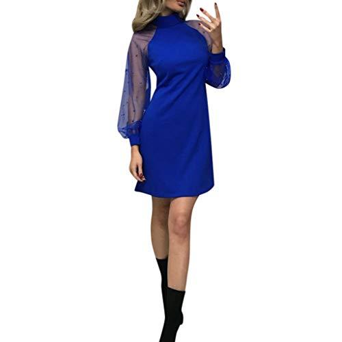 YWLINK Damen Mesh Perlen Patchwork Elegant Off Schulter Kleid Stehkragen Lange ÄRmel A-Line Mini Party Nachtclub Volltonfarbe Kleid(Blau,M)