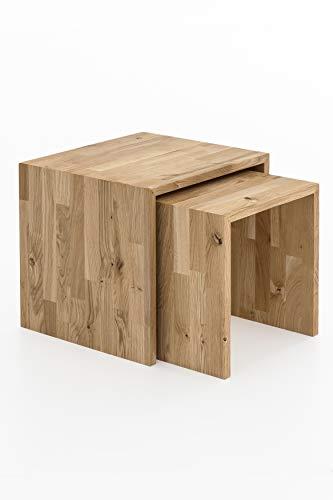 Woodlive Beistelltisch 2er Set Wohnzimmertisch aus Massivholz Wildeiche und Kernbuche massiv geölt 41x41x38 cm und 33x37x35 cm (Wildeiche)