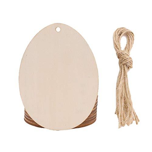Amosfun Ostern Holz Ornamente Eiförmige Hängen Anhänger Handwerk DIY Osterei Verzierungen mit Hanfseil für Ostern Party Dekorationen 20 Stücke (Stil 6)