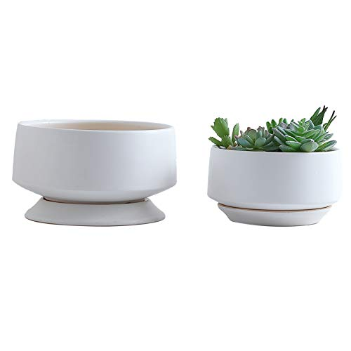 YISHANG Ceramic Planter Pot with Drainage Hole and Saucer/Tray, Indoor Cylinder Round Planter Pot,Set of 2 Glazed Ceramic Modern Planters Indoor Bonsai Container for House Plants(Matte White, Medium)
