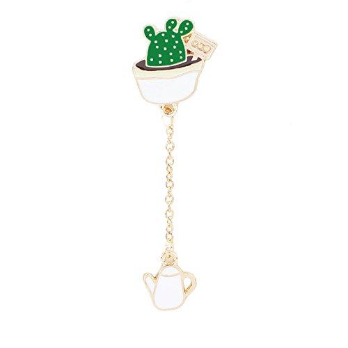 Adisaer Damen Emaille Pins Brosche Topfpflanzen mit Kette Thermometer Broschen Grün Mädchen 1 Stück Cartoon