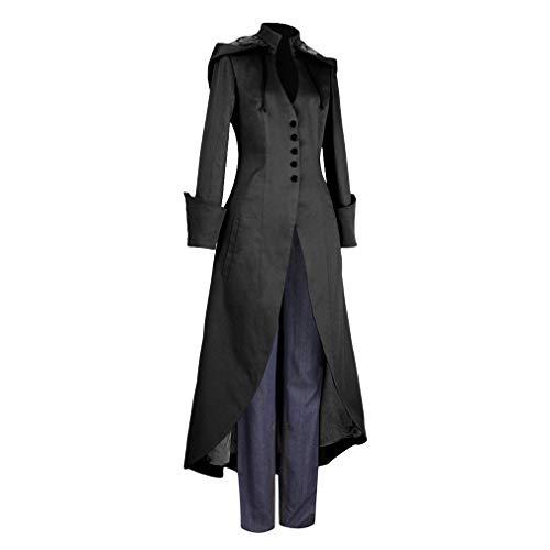 Damen Steampunk Gothic Barock Anzug Jacke Kapuzenmantel Viktorianische Frack Mode Holloween Party Cosplay Kostüm Outwear Langer Mantel