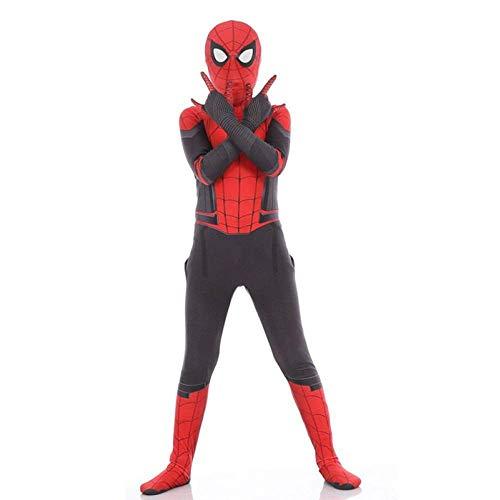 WOLJW Spiderman Cosplay kostuum kinderen ver van huis volledige lichaam pak film kostuum Bodysuit Superhero set, kind