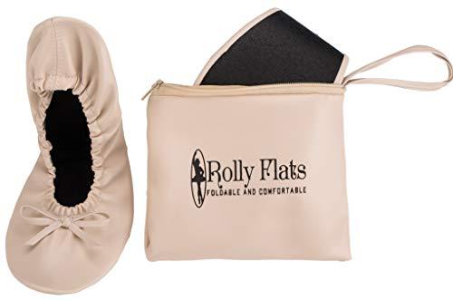 Rolly Flats Damen Ballerinas Faltbare Ballerinas Flach Freizeit Tanzschuhe (EU 41, nackt)