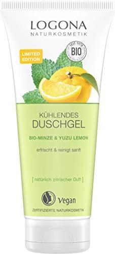 LOGONA Naturkosmetik Kühlendes Duschgel, mit Bio-Minze & Yuzu Lemon, belebt die Sinne, schenkt neue Energie für den Tag, für ein besonders sanftes Hautgefühl, 200 ml