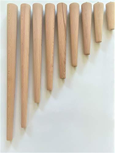4er Set Holz Tischbeine aus massivem Naturholz - perfekt geeignet für Esstisch, Couchtisch, Schreibtisch & mehr - Verschiedene Größen (Buche Natur, 40 cm)