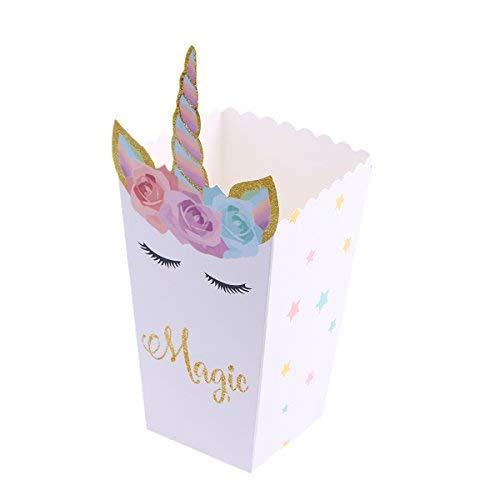 STOBOK 12 Pezzi di Popcorn Snack scatole Contenitore Arcobaleno Unicorno Scatola di ossequio