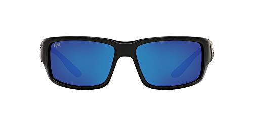Costa Del Mar Men's Fantail 580P Sunglasses, Matte Black/Grey Blue Mirrored Polarized-580P, 59 mm
