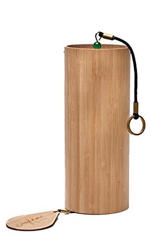 CAYLEN® Windspiel 4seasons WINTER, meisterhaft gefertigtes Klangspiel aus Bambus inkl. praktischer Segeltuchtasche