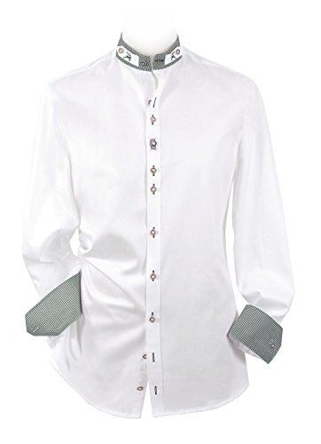 Moschen-Bayern Herren Hemd Trachtenhemd Langarm Kurzarm Wiesn Hemd Trachten Männer Oktoberfest Weiß Slim Fit