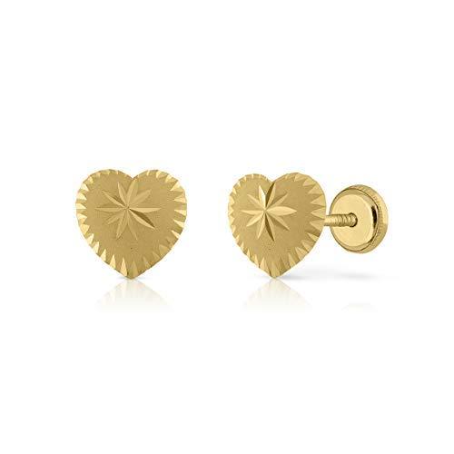 Pendientes Oro de Ley Certificado. Niña/Mujer. Diseño Corazón. Cierre de seguridad a rosca. Medida 8 mm. (4-4662-8)