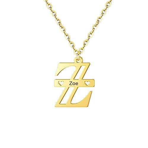 HUREWQ Collar Collares Personalizados con Nombre Inicial Personalizado Grabado Nombre Primera Letra mayúscula Gargantilla Collar para Mujeres Hombres