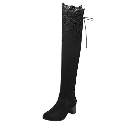 Overknee Stiefel mit Blockabsatz und Schnürung 6cm Absatz High Heels Boots (Schwarz,40)