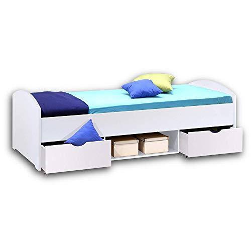 NEMO Modernes Einzelbett mit 2x Schubkästen 90 x 200 cm - Praktisches Jugendzimmer Kojenbett in Weiß - 96 x 66 x 204 cm (B/H/T)
