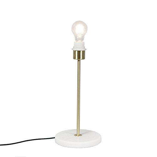 QAZQA Modern Klassieke tafellamp messing - Kaso Staal/Marmer Rond Geschikt voor LED Max. 1 x 60 Watt