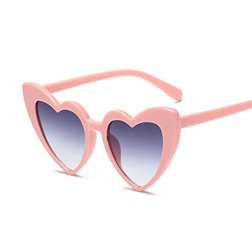 Gafas de sol de corazón redondo negro mujeres retro amor corazón en forma de corazón señoras compras UV400 adecuado para pesca Golf Beach Party, Pinkgray,