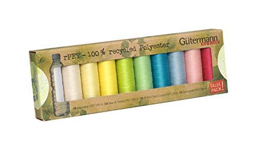 Gutermann Guterman n100% poliéster reciclado coser todo hilo 100-10 rollos de colores pastel, multicolor, talla única