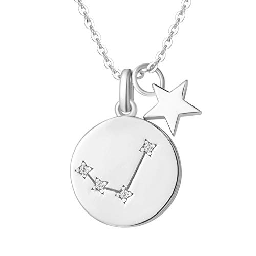 FANCIME Collar con Colgante de Signos del Zodiaco Aries Horoscopo Collar para Mujer de Plata de Ley 925 Chapada Oro Blanco y Circonita Cúbica - Longitud Cadena: 40 + 5 cm