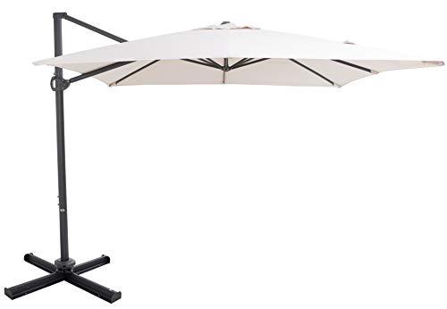 SORARA Roma Ampelschirm Sonnenschirm | Sand | Quadratisch | Kurbel und 360 Drehvorrichtung | Inkl. Kreuzfuß