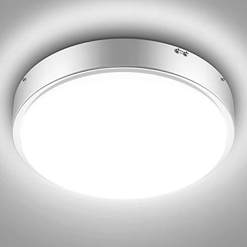 Olafus 32W Lámpara de Techo Moderna de Vidrio Metal Blanco, IP44 Impermeable 2800LM CRI 90+, Plafón LED Blanco Frío, Igual a 180W Bombilla Incandescente para Sala Estudio Dormitorio Balcón Baño Cocina