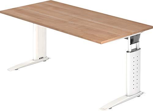 Bümö® Schreibtisch höhenverstellbar 68-86 cm | Bürotisch mit Gestell in weiß | höhenverstellbarer Büroschreibtisch | Tisch für\'s Büro & PC in Top Qualität - Büromöbel (Rechteck: 160 x 80 cm, Nussbaum)