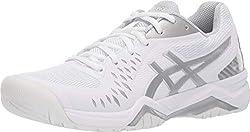 professional ASICS Gel Challenger 12 Women's Tennis Shoes, 9.5 m, White / Silver