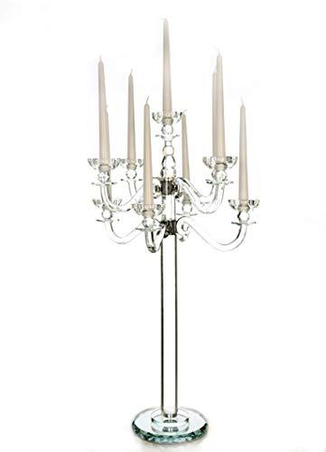 VOGUISH Kerzenständer Kerzenhalter Kerzenleuchter Groß 9-Armiger Kristall Glas Höhe: 80 cm