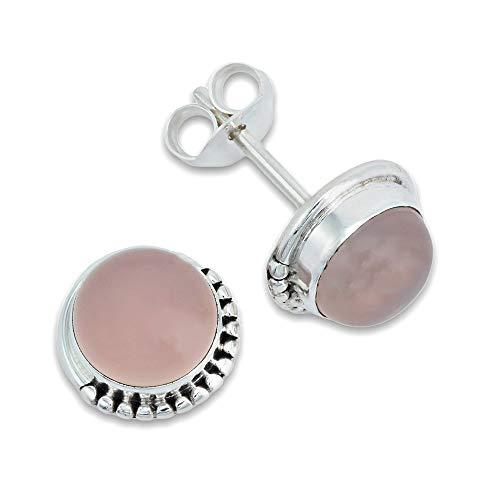 Pendientes de plata 925 con cuarzo rosa (No: MOS 18-07)
