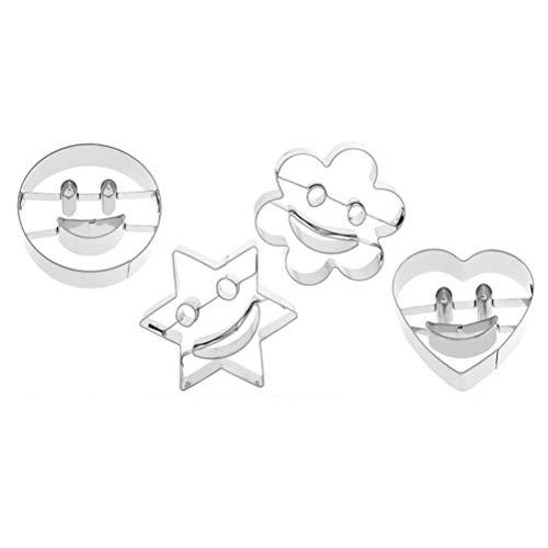 BESTonZON Kinder Ausstecher Set Smiley-Gesicht Keksausstecher Edelstahl Ausstechformen für Plätzchen Keks Backen 4 Stück