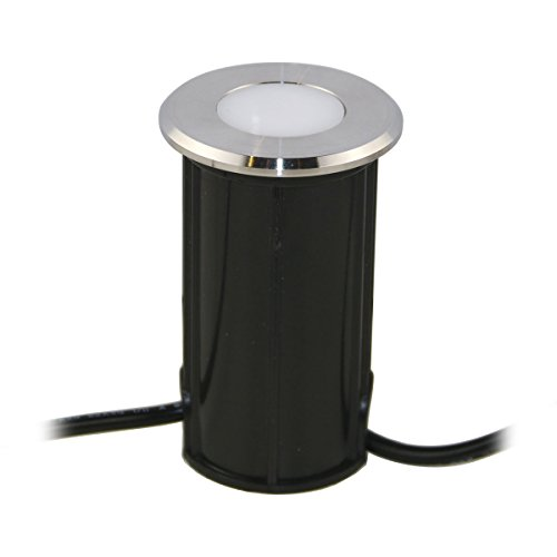 Spot LED encastrable au sol VBLED® - En acier inoxydable de qualité supérieure - Rond - 12 V/0,5 W - Couleur blanc chaud : 3 000 K - 20 lumens - Ø 45 x 43 mm (indice d'étanchéité IP67 pour usage extérieur :sol, terrasse, jardin) Einzel