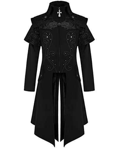 cappotto uomo fashion Devil Fashion Uomo Lungo Gotico Cappotto Giacca Velluto Nero Damasco Steampunk Vittoriano Gentiluomo Regency Aristocrat Vintage CT13401 - Nero
