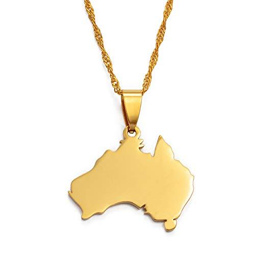 Collar De Mapa,Collar con Mapa, Diseño Exquisito, Unisex, Australia, Contorno Irregular, Mapa Dorado, Colgante, Collar, Encanto Étnico Único, Joyería Brillante para Mujeres, Hombre, Viaje, Regal